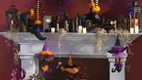 RAZ Halloween Mantel with Spell Books Witch Legs Witch ...