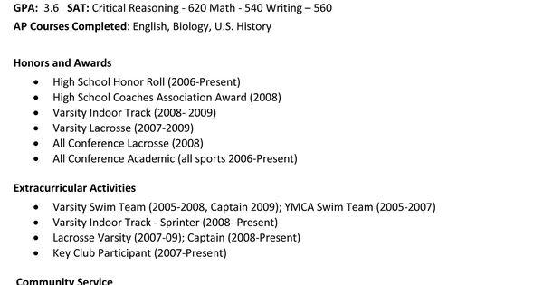 college resume examples high school seniors
