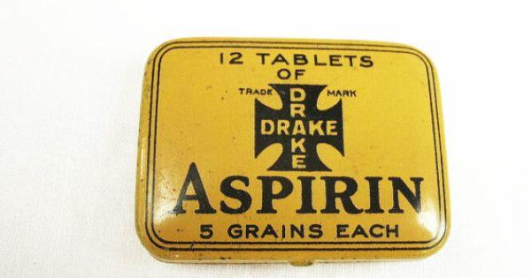 Menstrual Cramp And Period Pain Relief Midol Vintage Aspirin Tin Drake Remedy Co Kingston Ny