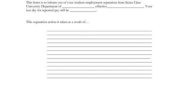 Employment Separation Certificate Form. termination letter format ...