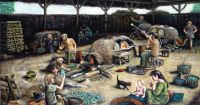An informed painting of a Roman glassblowing workshop by ...