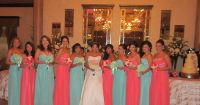 Mint and coral bridesmaids dresses | My wedding day ...