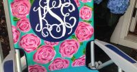 Hand painted monogram beach chair. Lilly Pulitzer inspired ...