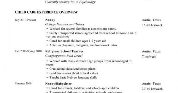 nanny resume advice