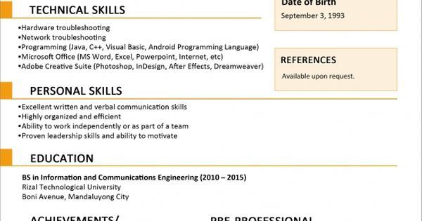 Chronological Resume Samples Writing Guide Rg Sample Resume Format For Fresh Graduates One Page Format