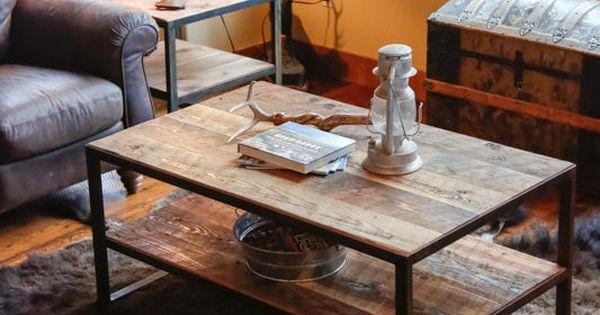 Rustic Steel & Reclaimed Barn Wood Coffee Table, Vintage
