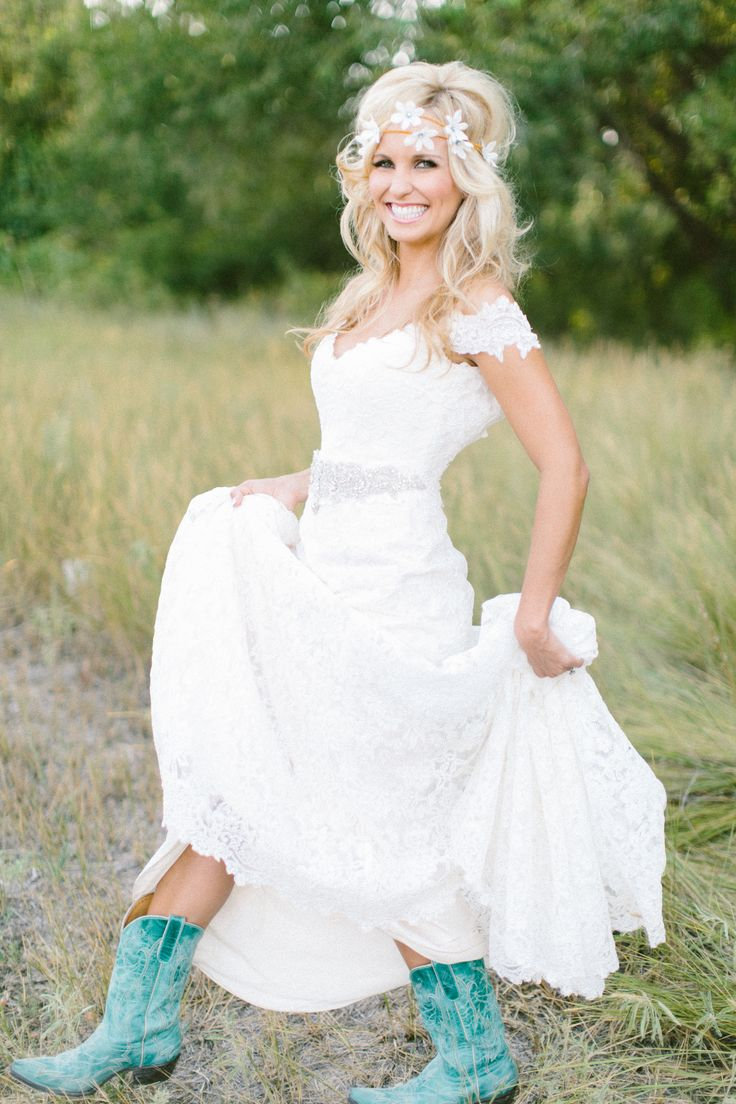 turquoise boots nice dresses for wedding Turquoise Boots with Wedding Dress So cute I can totally picture my daughter doing