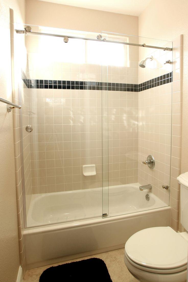 Glass door tub enclosure shower tub enclosures frameless polished or brushed stainless steel bypassing tub bathtub