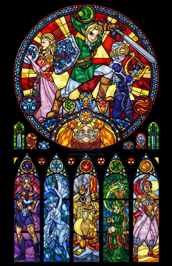 Princess Wallpaper Cute Pattern Ocarina Of Time The Seven Sages Stained Glass By Nenuiel