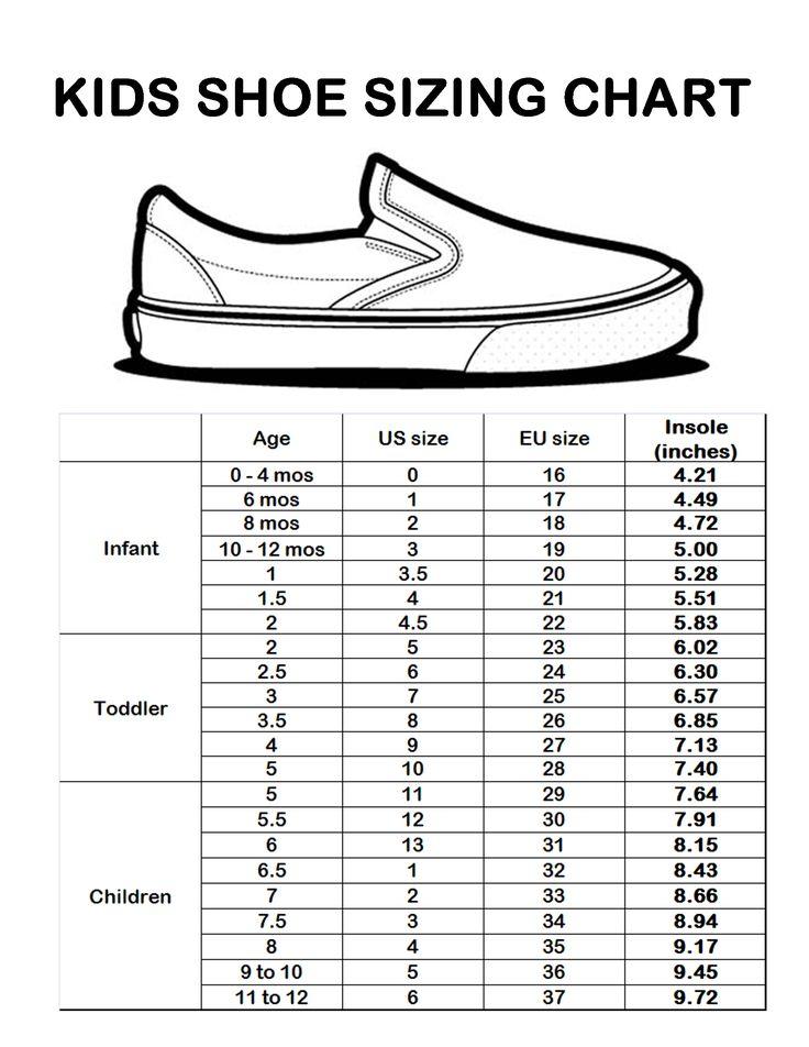 Sizing Chart Craft Ideas Pinterest Shoe Size Chart