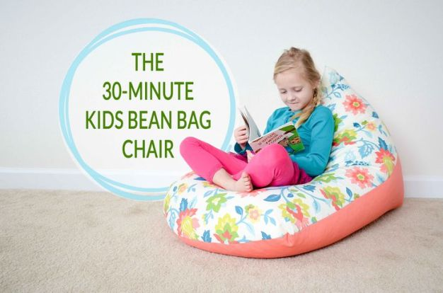 DIY Kids Bean Bag Chair (in 30 minutes!) - no fancy sewing skills required! #DIY #playroom