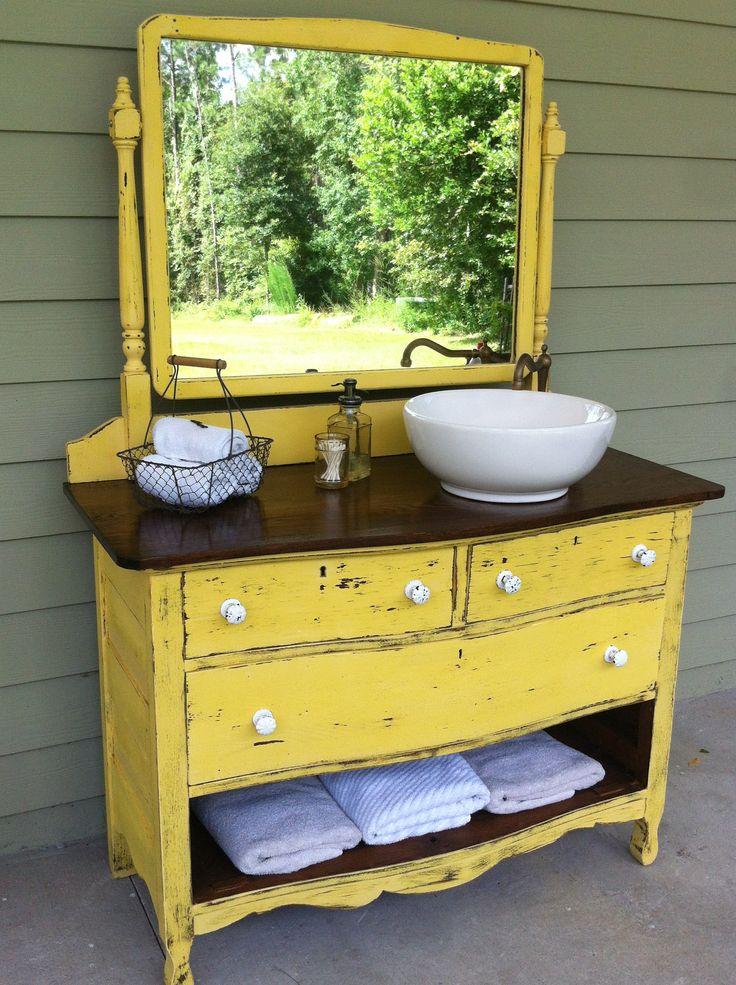 Dresser turned sink vanity bathrooms ideas pinterest