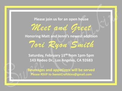 DIY Printable Meet and Greet / Baby Shower Invitation Grey ...