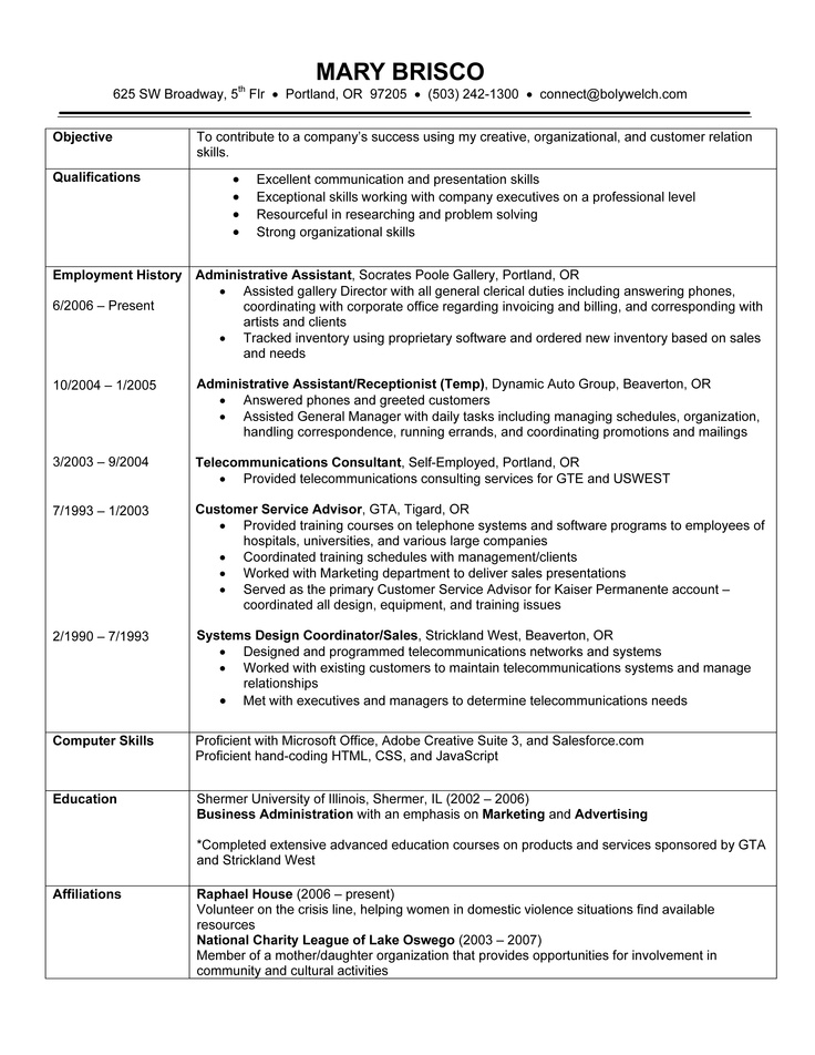working experience resume example