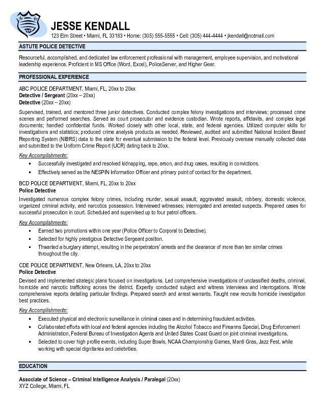intelligence resume templates