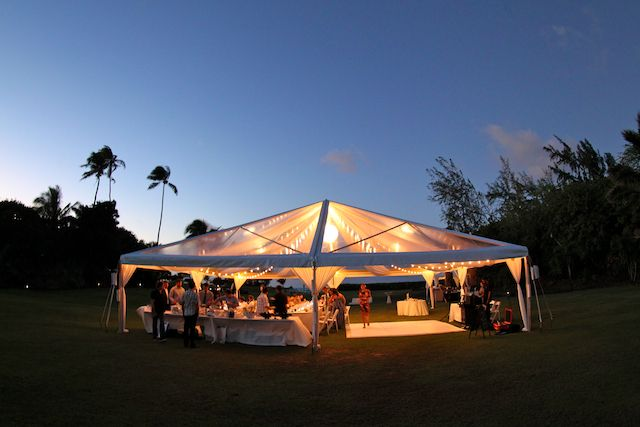 40X40 Clear Top tent at Loulu Palm with draping, cafe
