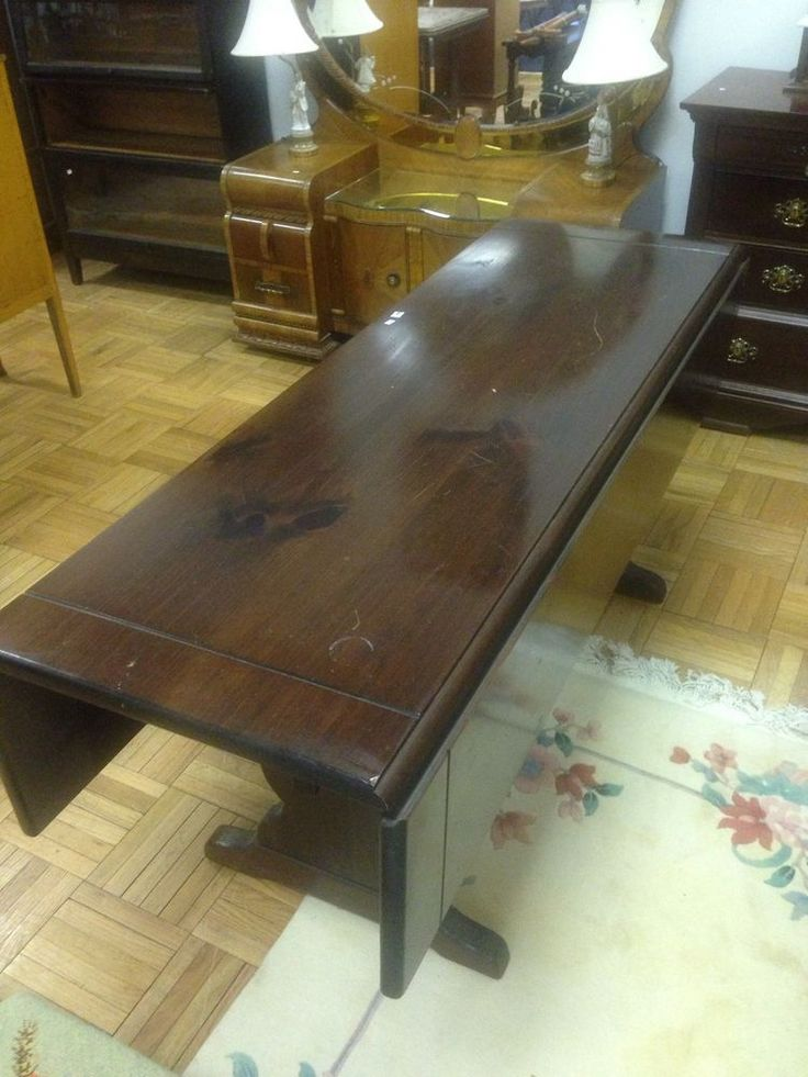 Rectangle Table Ethan Allen Dark Antiqued Pine Old Tavern Drop Leaf