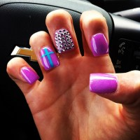 Purple powder fake nails with rhinestones and turquoise ...