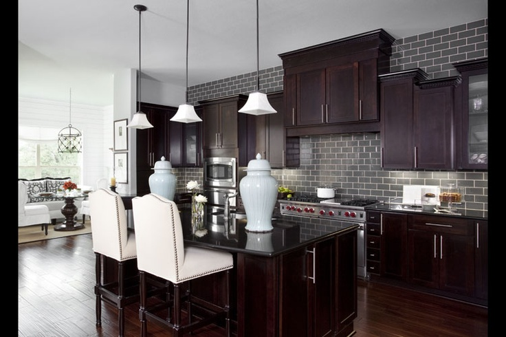 Color Schemes Kitchens With Gray Cabinet Gray Brick Backsplash | For The Home | Pinterest | Bricks