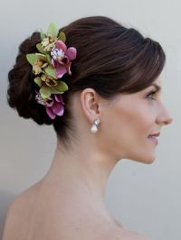 bride hair with flowers | Orchid Hair Flower ~ Giselle ...