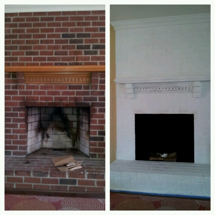 Before And After Diy Fireplace Brick Paint White Family