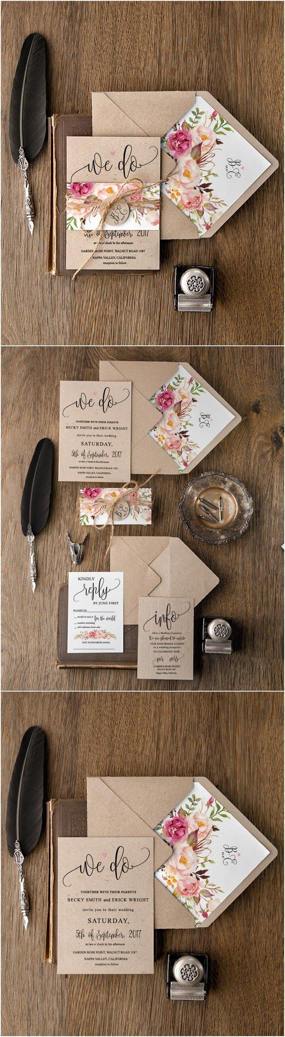 wedding invitations wedding stationery Rustic country peach and pink kraft paper wedding invitations rusticwedding countrywedding weddinginvites