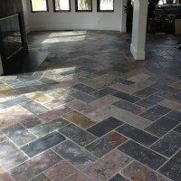 Herringbone slate tile. My new living room :