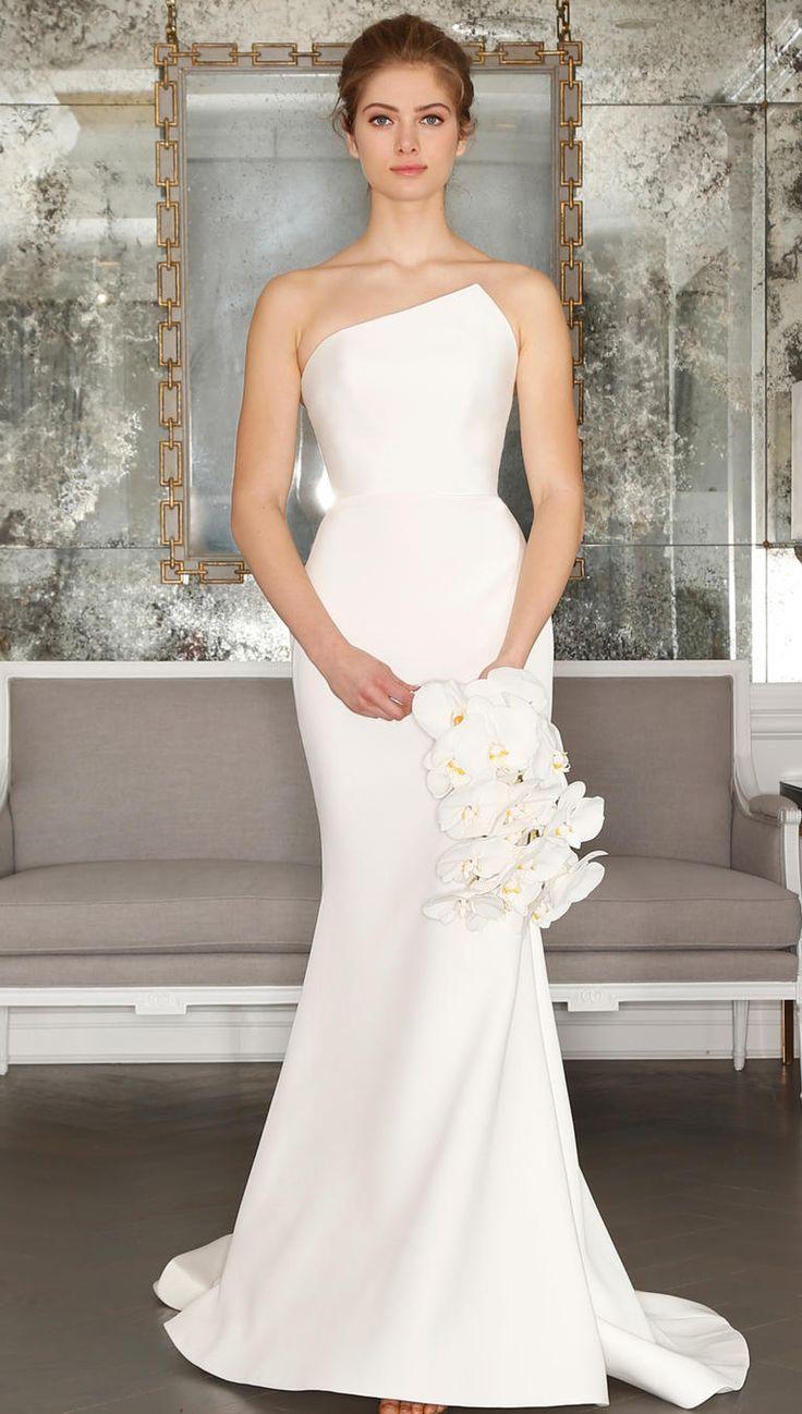 asymmetrical wedding dresses simple elegant wedding dress Romona Keveza s Spring Collection Is All About Feminine Florals Classy Wedding DressWhite