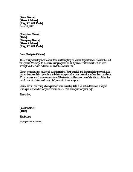 Survey Assistant Cover Letter - survey cover letter