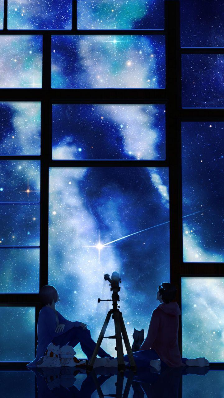 Cell Wallpaper Hd Illustration Fall Download Wallpaper 720x1280 Tamagosho Sky Stars