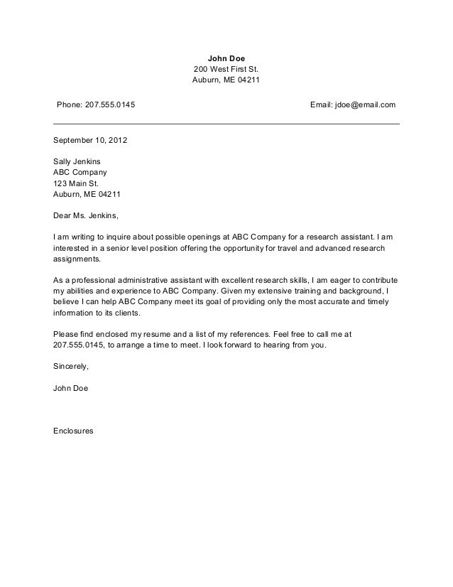 Sample Cover Letter For The Position Of Administrative Assistant