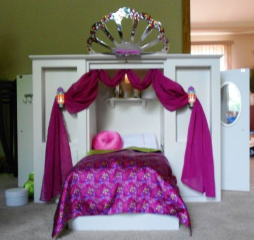 Retired american girl doll wood murphy bed 3 in 1 w