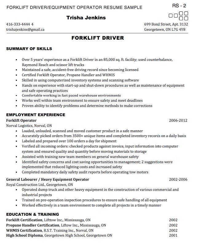 heavy equipment operator resume template