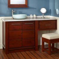 "60"" Venica Mahogany Vessel Sink Vanity with Makeup Area ..."