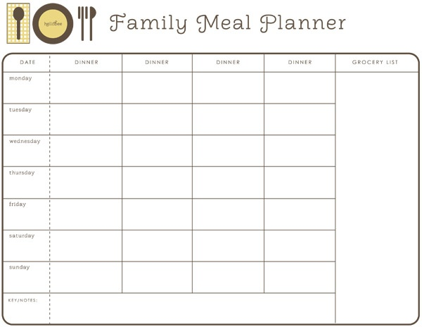 Meal Calendar Template Monthly