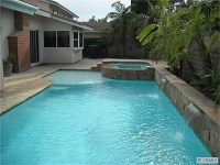 Rectangular Pool w/ Spa + Baja Step.   Backyard ...
