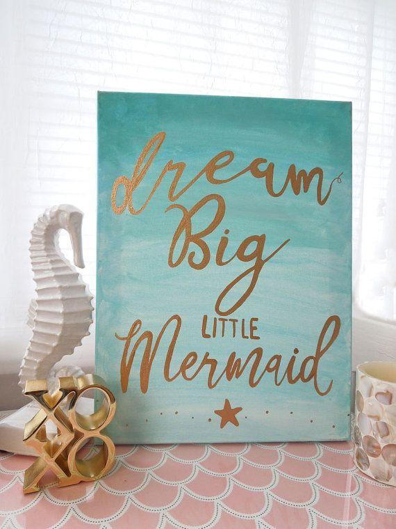 Nursery wall decor dream big little mermaid beach cottage wall decor