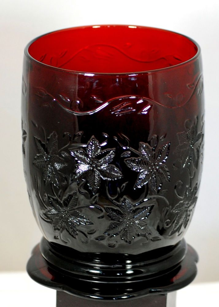 Princess House Large Ruby Red Poinsetta Embossed Vase