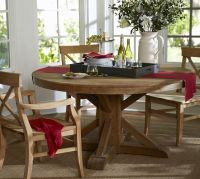Benchwright Fixed Pedestal Dining Table - Wax Pine finish ...