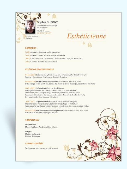 cv assistante estheticienne deramatalogue
