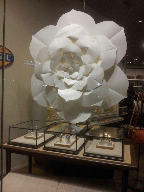 paper flower window display