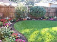 Irregularly shaped beds in the corners of the backyard ...