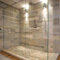 Natural Stone Wall And Glass Shower Enclosure -- general ...
