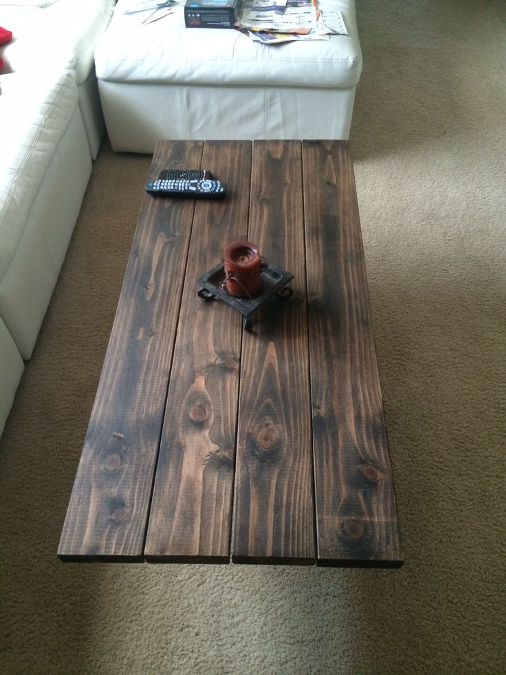 Light Wood Dining Table My Coffee Table Top- 2x6 Douglas Fir With Dark Stain & Wax