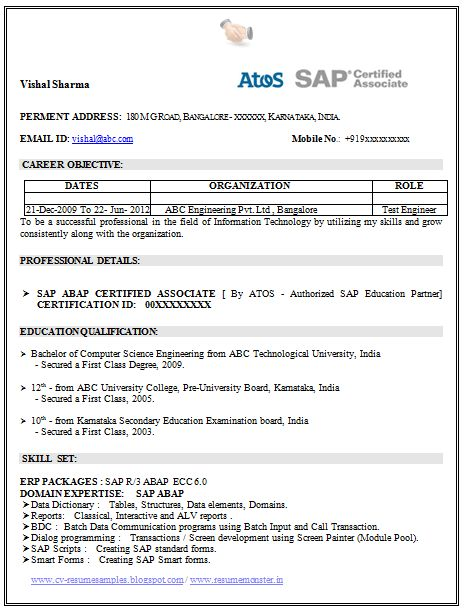 Curriculum Vitae Samples Of Engineers Resume 2017 Resume Template Of A Sap Certified Professional With Great