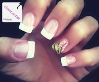 Cute white tips with design | Nail designs | Pinterest ...