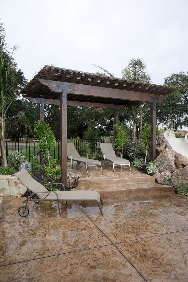 Pergola And Stamped Concrete Super Sweet Stamped