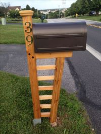 DIY cedar mailbox post 10 degree front post and mortised ...