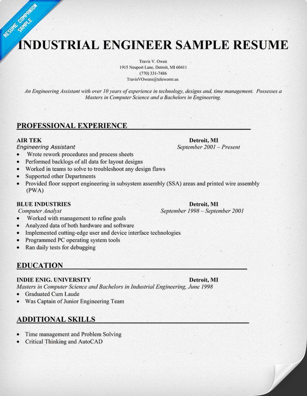 Engineering Resume Samples To Jumpstart In Your Career Industrial Engineer Sample Resume Resumecompanion