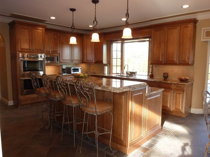Granite Top Kitchen Island With Seating Traditional Kitchen, Stainless Steel Appliances, Granite